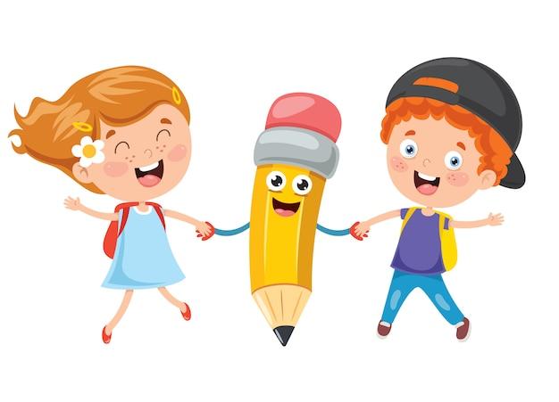 Petits étudiants Jouant Avec Un Crayon Vecteur Premium
