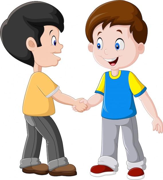 Petits garçons se serrant la main Vecteur Premium