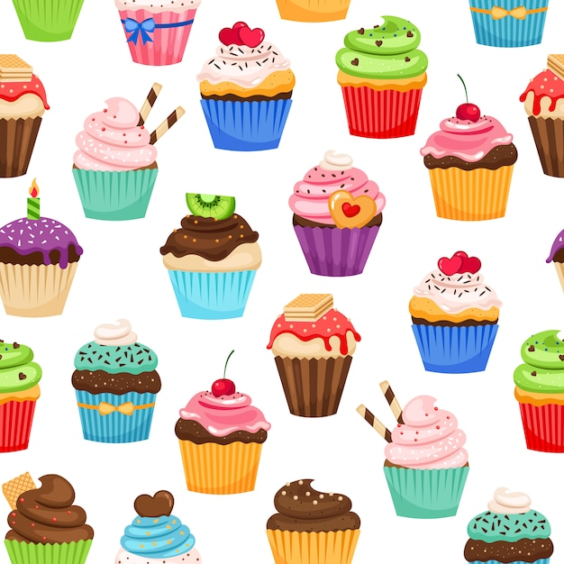 Petits gâteaux au chocolat avec des pralines et modèle sans couture de cerise vecteur pour la décoration de cadeau de vacances Vecteur Premium