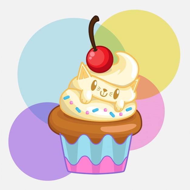 Petits gâteaux de chat Vecteur Premium