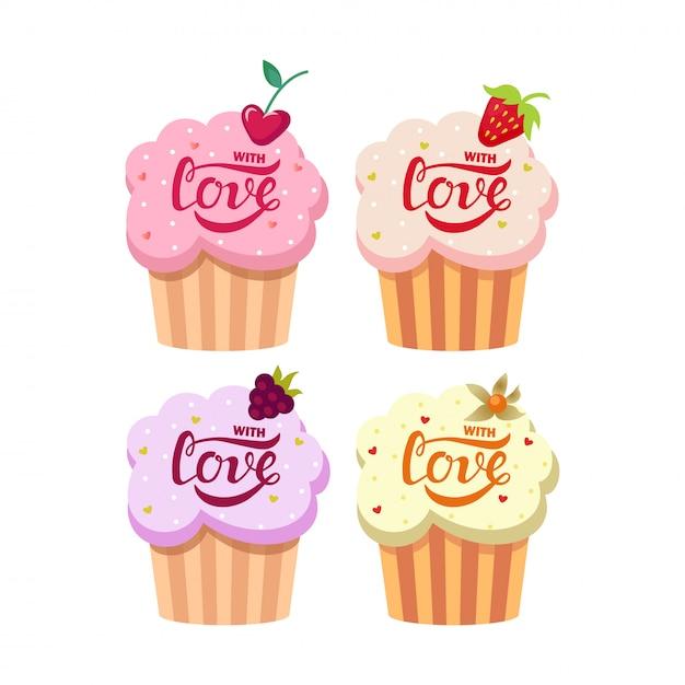 Petits gâteaux crémeux mignons sertis de texte d'amour Vecteur Premium