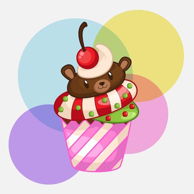 Petits gâteaux d'ours mignons Vecteur Premium