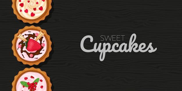 Petits Gâteaux Sucrés Sur Fond Noir En Bois Vecteur Premium