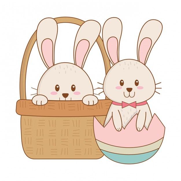 Petits lapins à l'oeuf peint dans le panier personnage de pâques Vecteur Premium