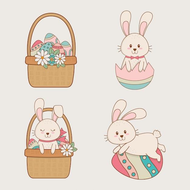 Petits lapins avec paniers personnages de pâques Vecteur Premium