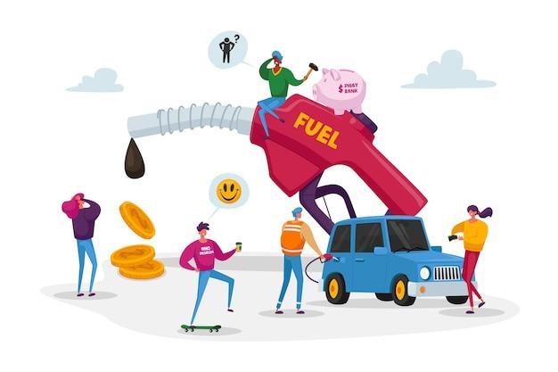 Petits Personnages Autour D'un énorme Tuyau D'essence De Pompage Vecteur Premium
