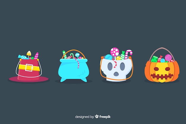 Petits sacs mignons pour des bonbons d'halloween Vecteur gratuit