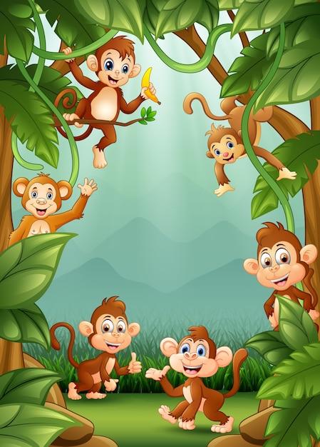 Les petits singes heureux dans la jungle Vecteur Premium