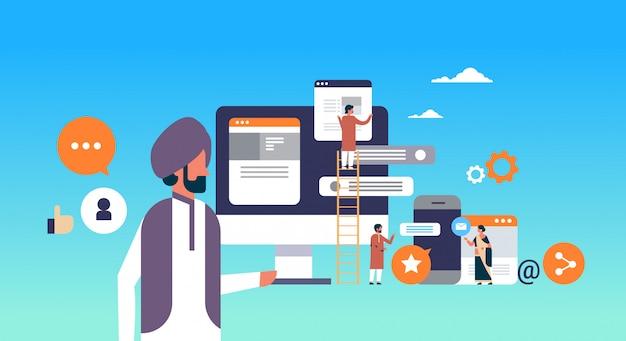 Peuple indien bannière de développement d'applications mobiles Vecteur Premium
