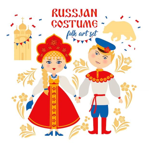 Peuple Russe En Costume National Folklorique Vecteur Premium