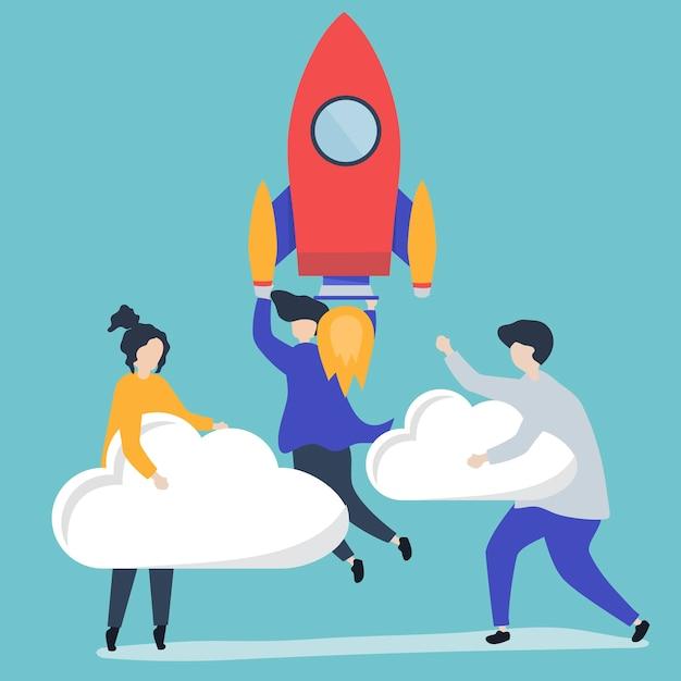Un peuple tenant une fusée lancée et des nuages Vecteur gratuit