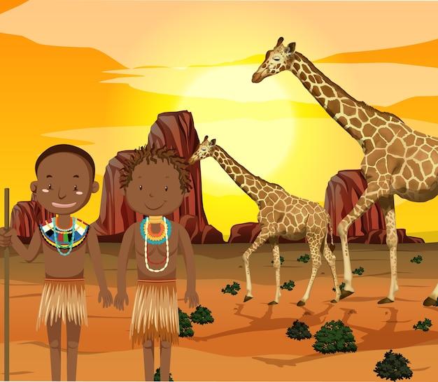 Peuples Ethniques Des Tribus Africaines En Vêtements Traditionnels En Arrière-plan De La Nature Vecteur gratuit