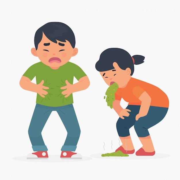 Les peuples souffrent de maux d'estomac, de vomissements et d'intoxication alimentaire Vecteur Premium