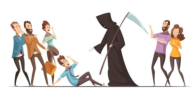 Peur De La Mort Obsession Phobie Inconnue Et Anxiété Symptômes Physiques Mentaux Et émotionnels Rétro Voiture Vecteur gratuit