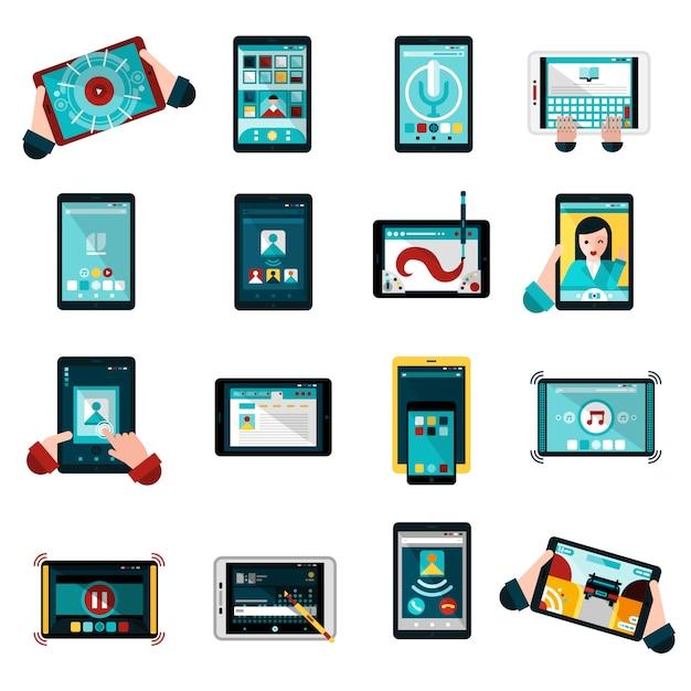 Phablet icons set Vecteur gratuit