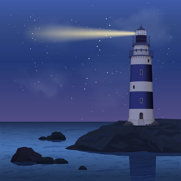 Phare Dans La Nuit Vecteur gratuit
