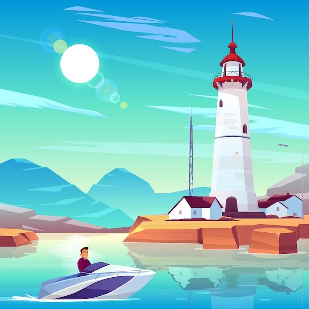 Phare dans le port et bateau à moteur avec homme en passant par les habitations et tour se tenir sur la côte rocheuse à la journée ensoleillée Vecteur gratuit