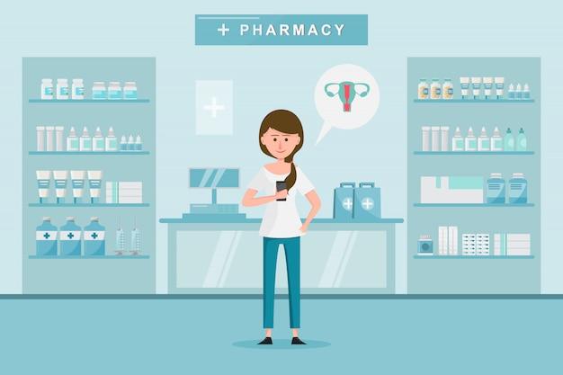 La pharmacie avec une femme achète des médicaments à la pharmacie. Vecteur Premium