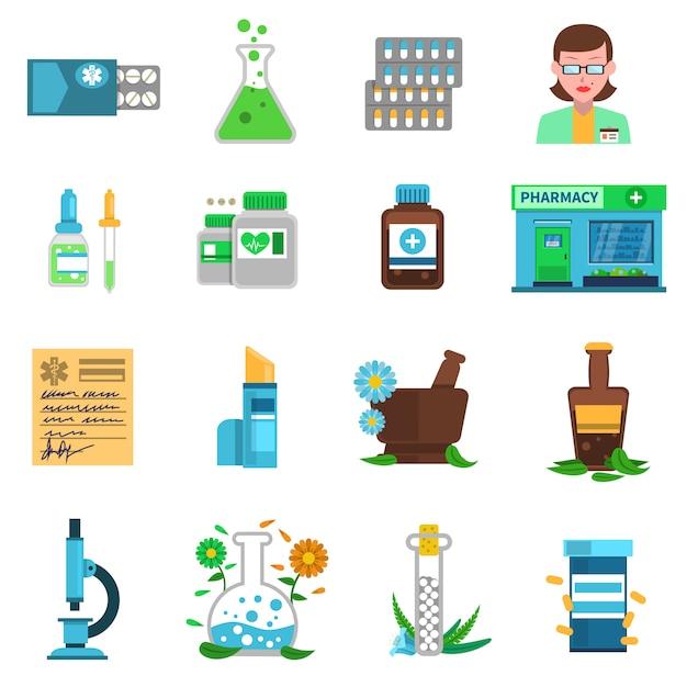 Pharmacie icons set Vecteur gratuit