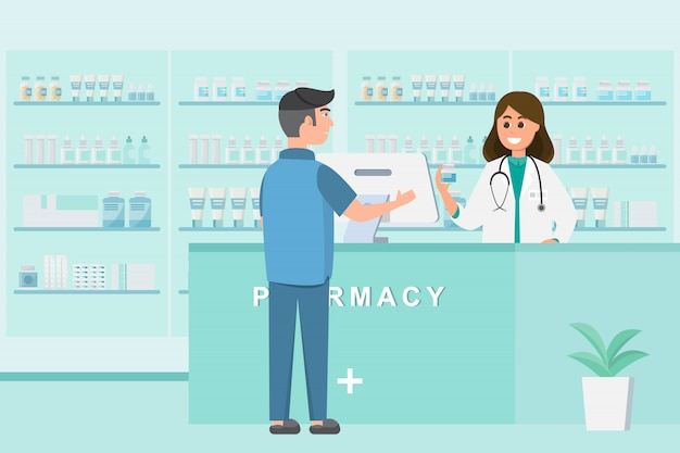 Pharmacie avec infirmière au comptoir Vecteur Premium