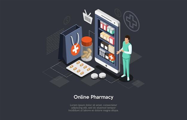 Pharmacie En Ligne Isométrique Et Pharmacien Homme Médecin. Soins De Santé, Commande En Ligne Du Concept De Médicaments Vecteur Premium