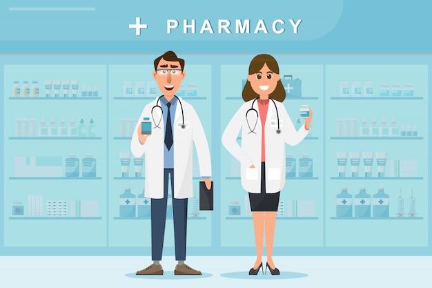 Pharmacie avec médecin et infirmière au comptoir Vecteur Premium