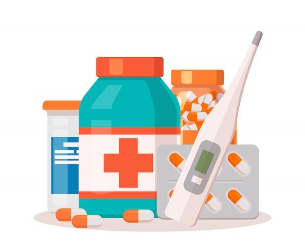 Pharmacie De Médecine. Vecteur Premium