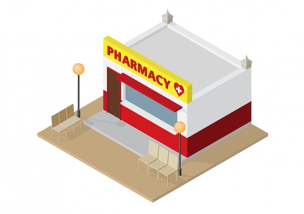 Pharmacie ou pharmacie isométrique Vecteur Premium