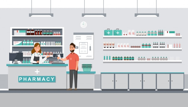Pharmacie avec pharmacien et client au comptoir Vecteur Premium