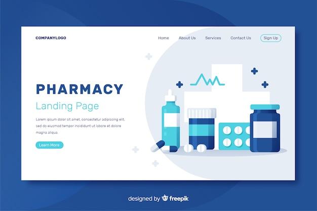Pharmacie Plate Et Simple Page De Destination Vecteur Premium