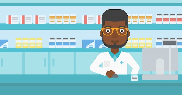 Pharmacien au comptoir avec caisse. Vecteur Premium