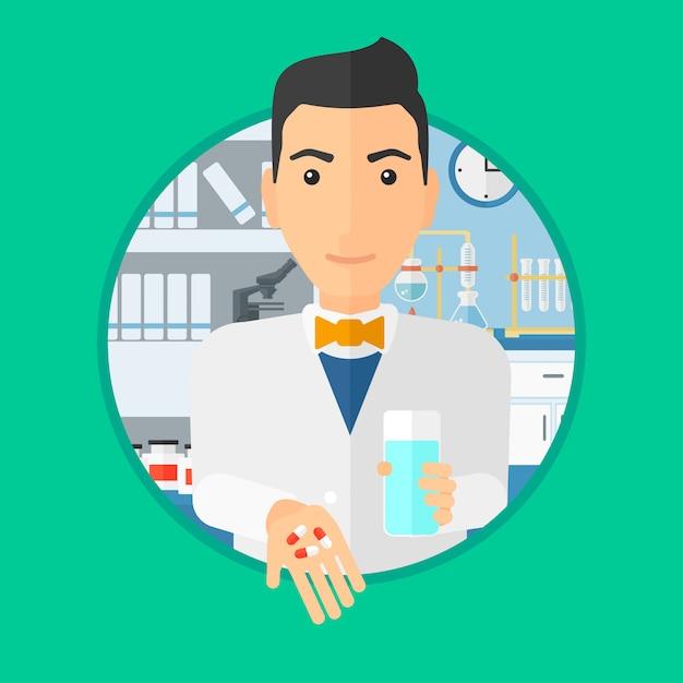 Pharmacien donnant des pilules et un verre d'eau. Vecteur Premium