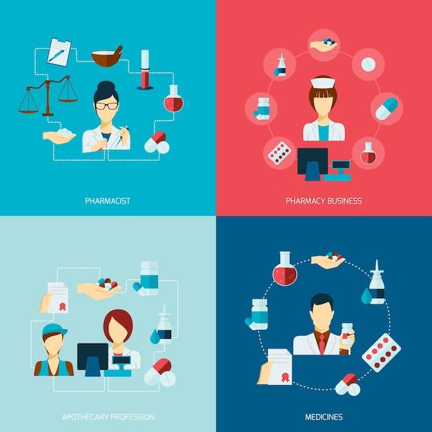 Pharmacien icône plate set Vecteur gratuit