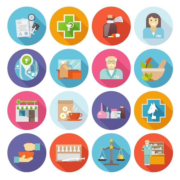 Pharmacien icons set Vecteur Premium