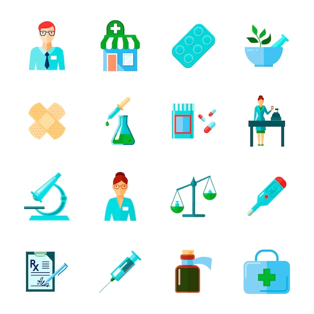 Pharmacien isolé icône plate sertie de médicaments et méthodes d'utilisation de différents instruments médicaux illustration vectorielle Vecteur gratuit