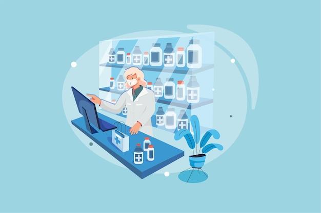 Pharmacien Avec Masque De Protection Sur Son Visage Travaillant à La Pharmacie Vecteur Premium