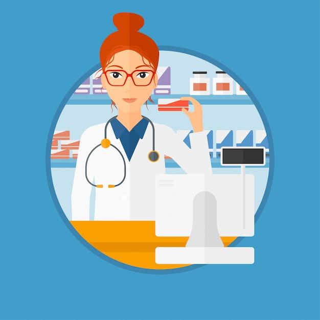 Pharmacien montrant des médicaments. Vecteur Premium