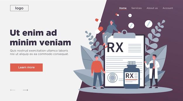 Pharmacien Et Patients Présentant Une Prescription Rx Vecteur Premium