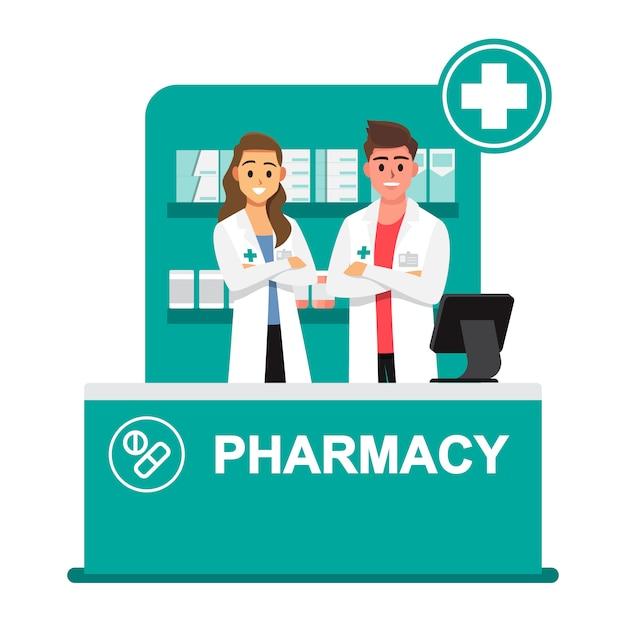 Pharmacien, pharmacie, les pharmaciens sont prêts à donner des conseils sur l'utilisation des médicaments Vecteur Premium