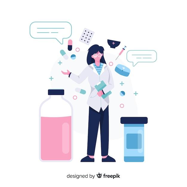 Pharmacien plat avec bulles Vecteur gratuit