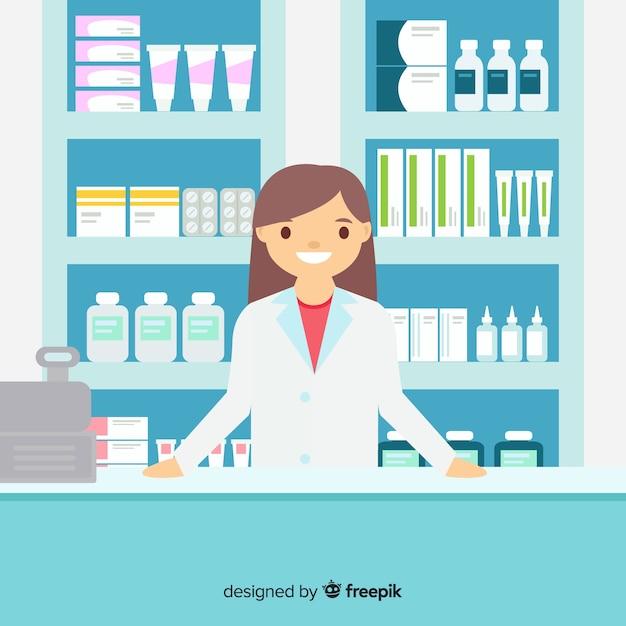 Pharmacien plat fréquentant les clients Vecteur gratuit