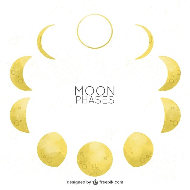Les phases de lune en effet aquarelle Vecteur gratuit