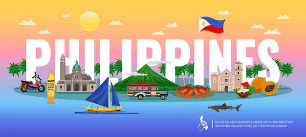 Philippines Composition Typographique Avec De La Nourriture Traditionnelle Divers Monuments Et Animaux Sur Fond Dégradé Horizontal Vecteur gratuit
