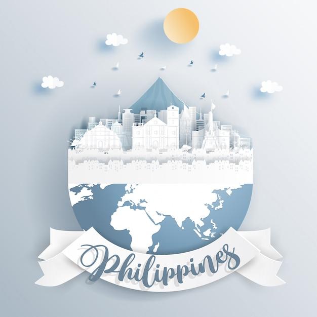 Philippines monuments sur la terre en papier coupé illustration vectorielle de style. Vecteur Premium