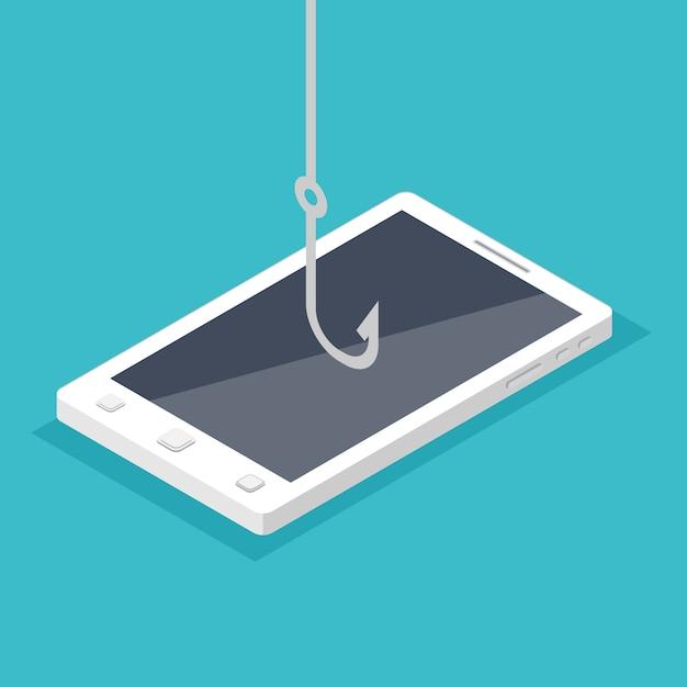 Phishing De Données, Piratage D'arnaque En Ligne Sur Le Concept De Smartphone. Vecteur Premium