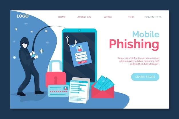 Phishing Mobile Et Voleur Volant La Page De Destination Vecteur gratuit