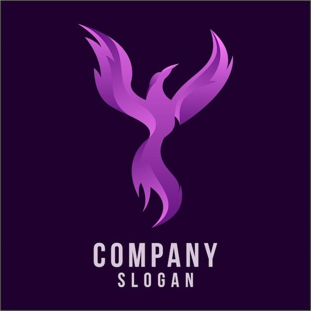 Phoenix 3d création de logo Vecteur Premium