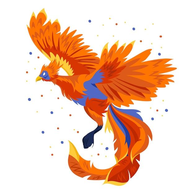 Phoenix Dessiné à La Main Vecteur gratuit