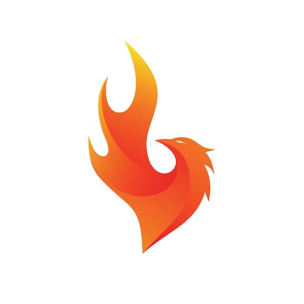 Phoenix fire logo vector Vecteur Premium