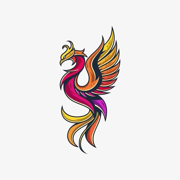 Phoenix line illustration vector modèle de conception Vecteur Premium